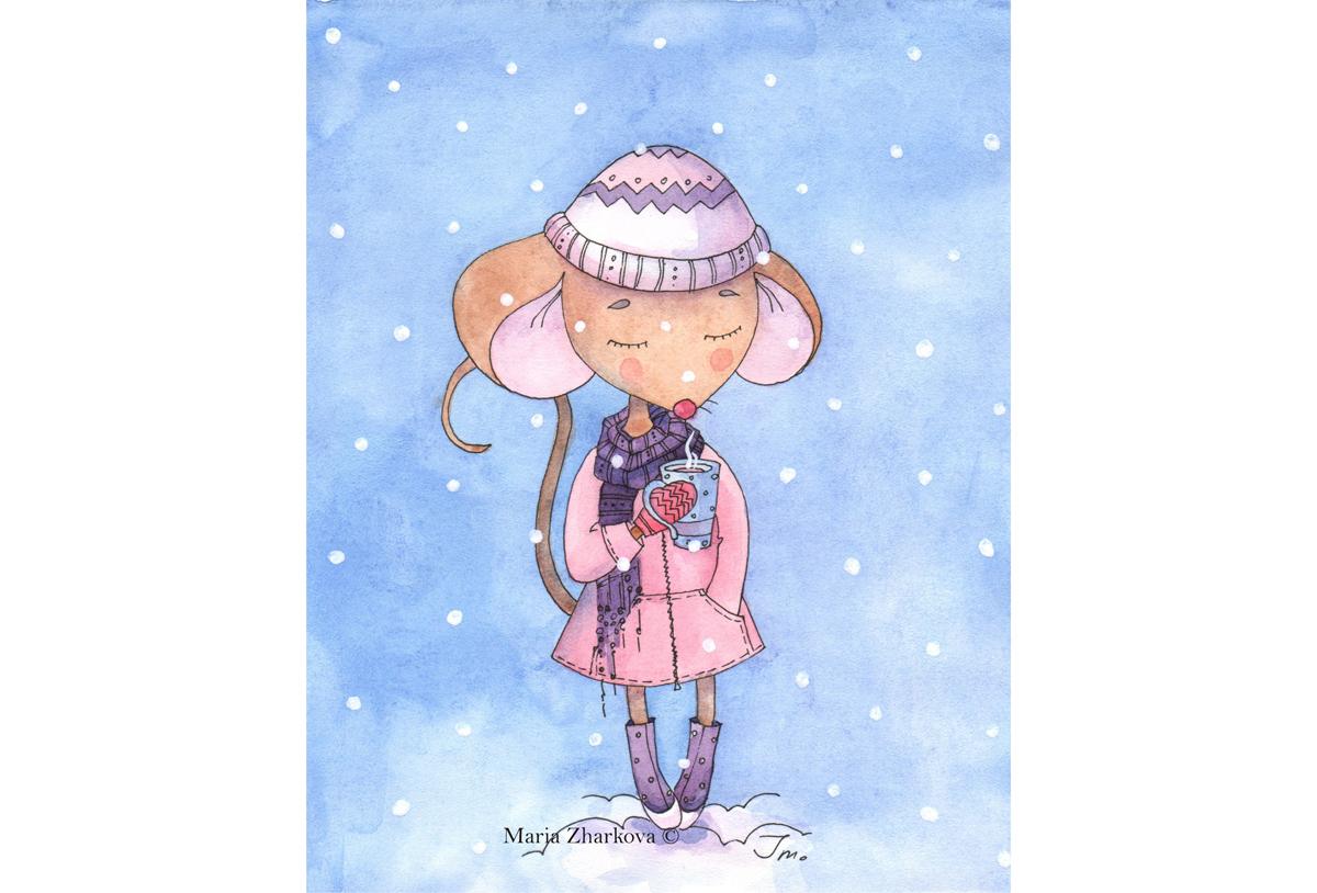 А снег все падал рисунок Мария Жаркова