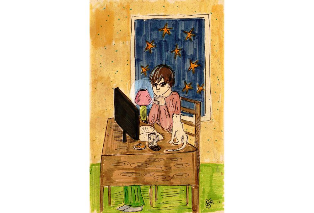 Человек с тысячей кошек, рисунок Алисы Солдатовой
