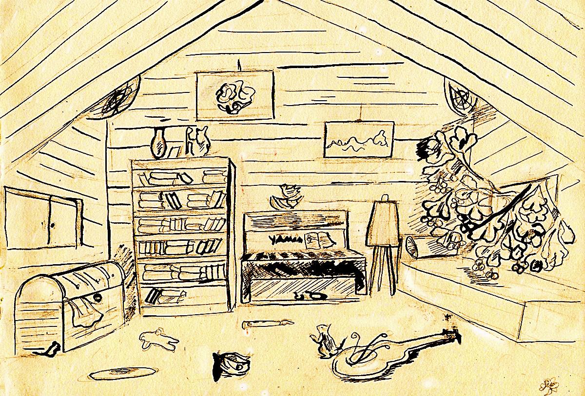 Старый чердак, рисунок Алисы Солдатовой