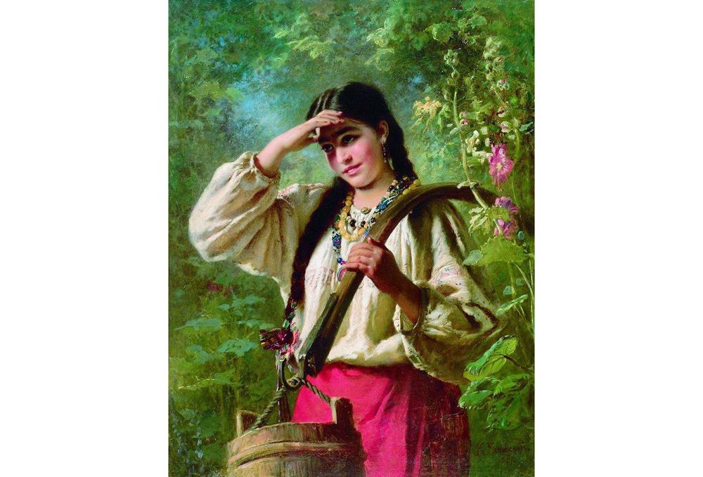 Девушка с коромыслом, картина Маковского К.Е.