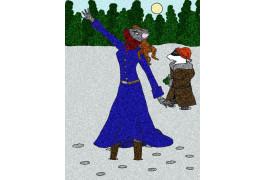 Колумбина и Динни в зимнем лесу