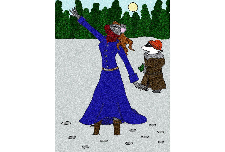 иллюстрация Колумбина и Динни в зимнем лесу