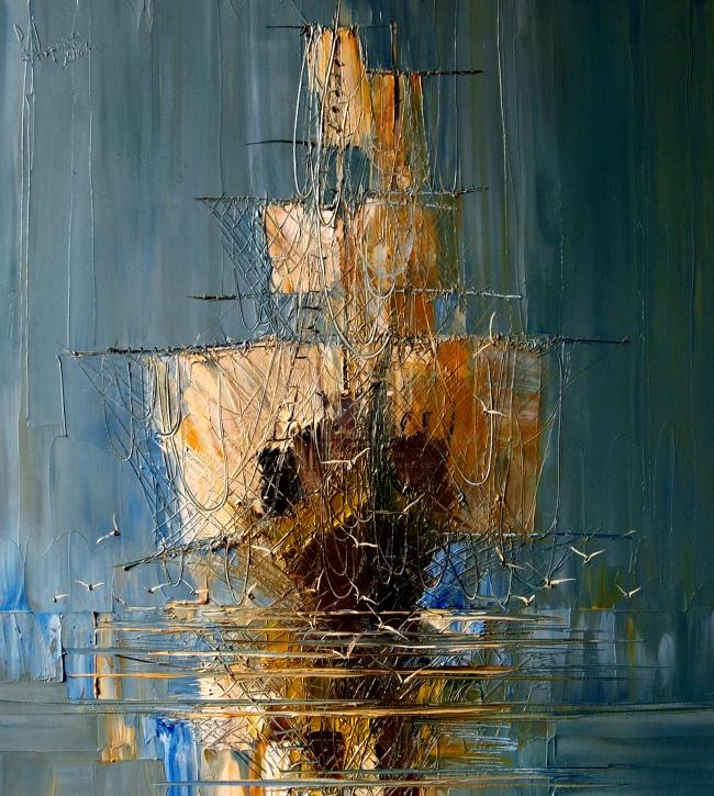 картина корабль с отражением, Юстина Копанья