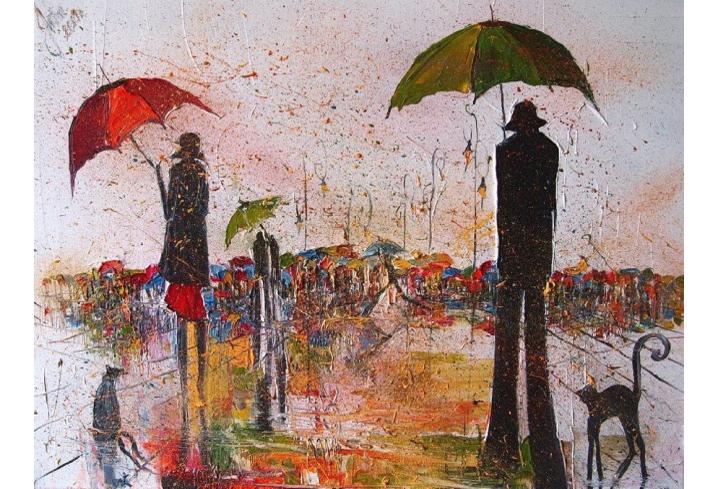 картина люди с зонтами, Юстина Копанья