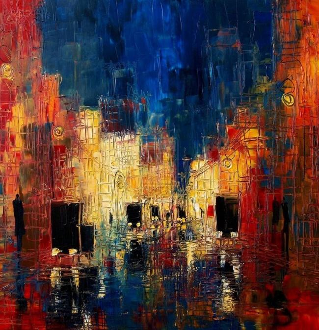 картина вечерний город, Юстина Копанья