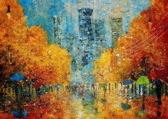 картина осенние прогулки, Юстина Копанья