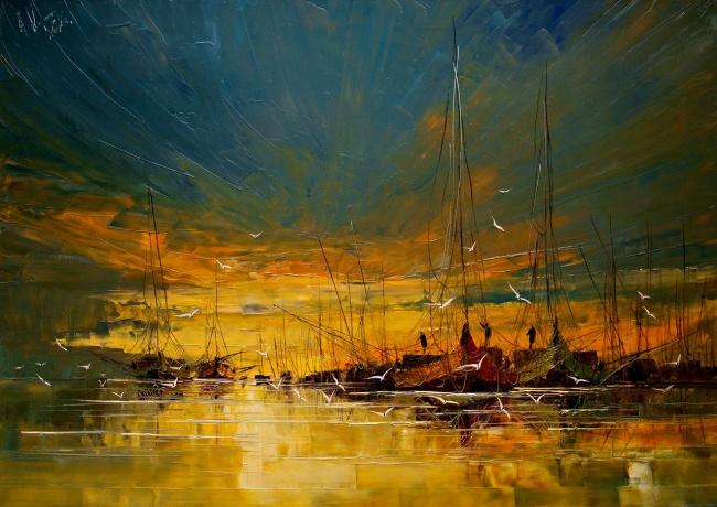 картина закат в гавани, Юстина Копанья