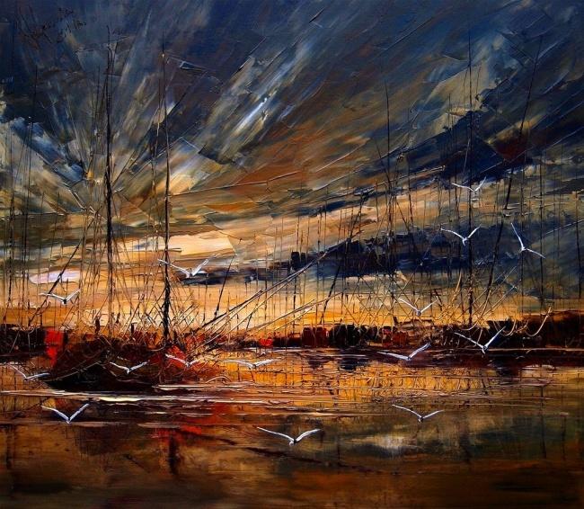картина чайки в гавани, Юстина Копанья