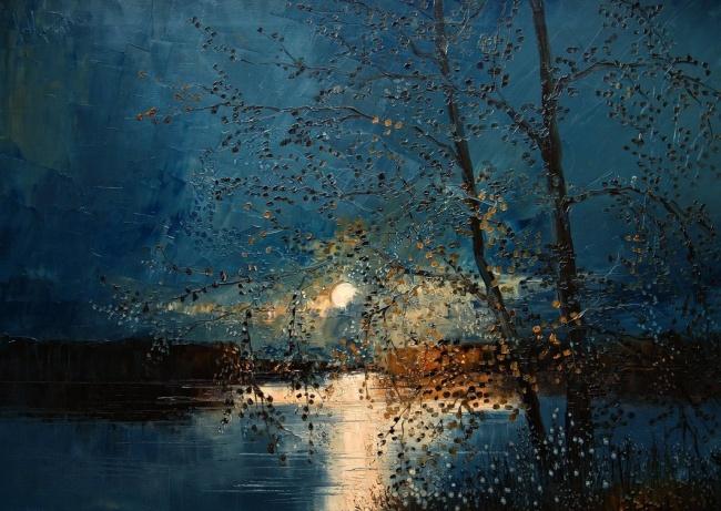 картина луна в небе, Юстина Копанья