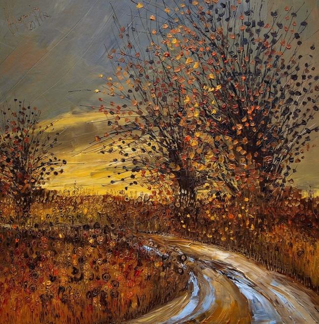 картина осенняя дорога, Юстина Копанья