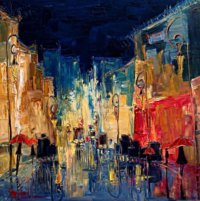 картина вечерние прогулки, Юстина Копанья