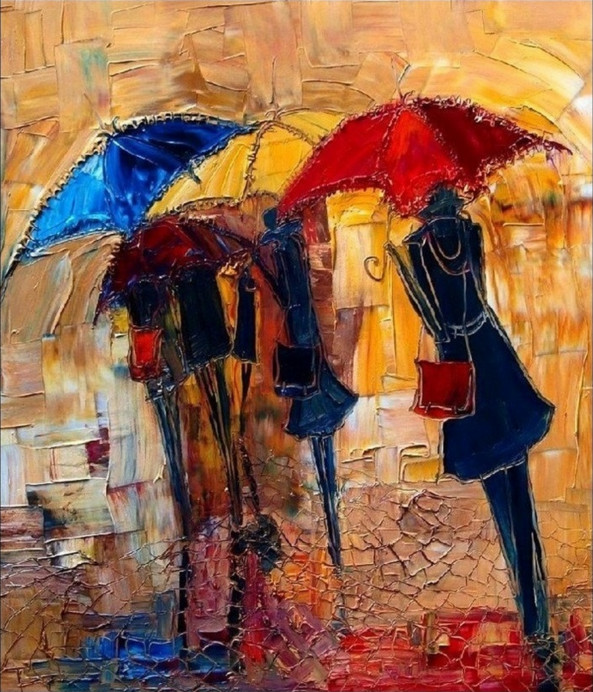 картина девушки с зонтами, Юстина Копанья