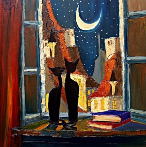 картина коты у окна, Юстина Копанья