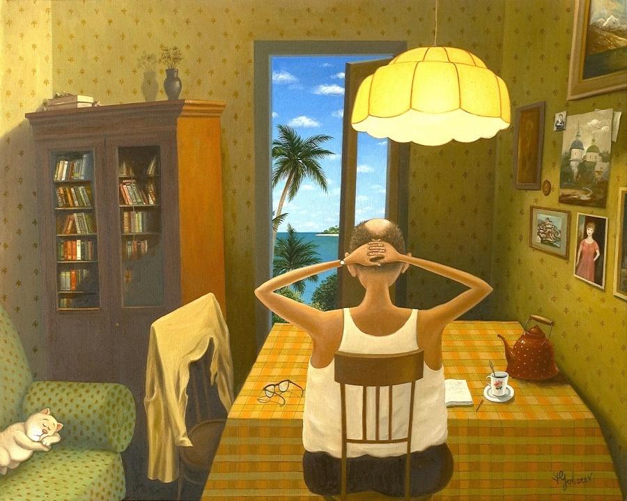 картина Валентина Губарева в квартире с котом