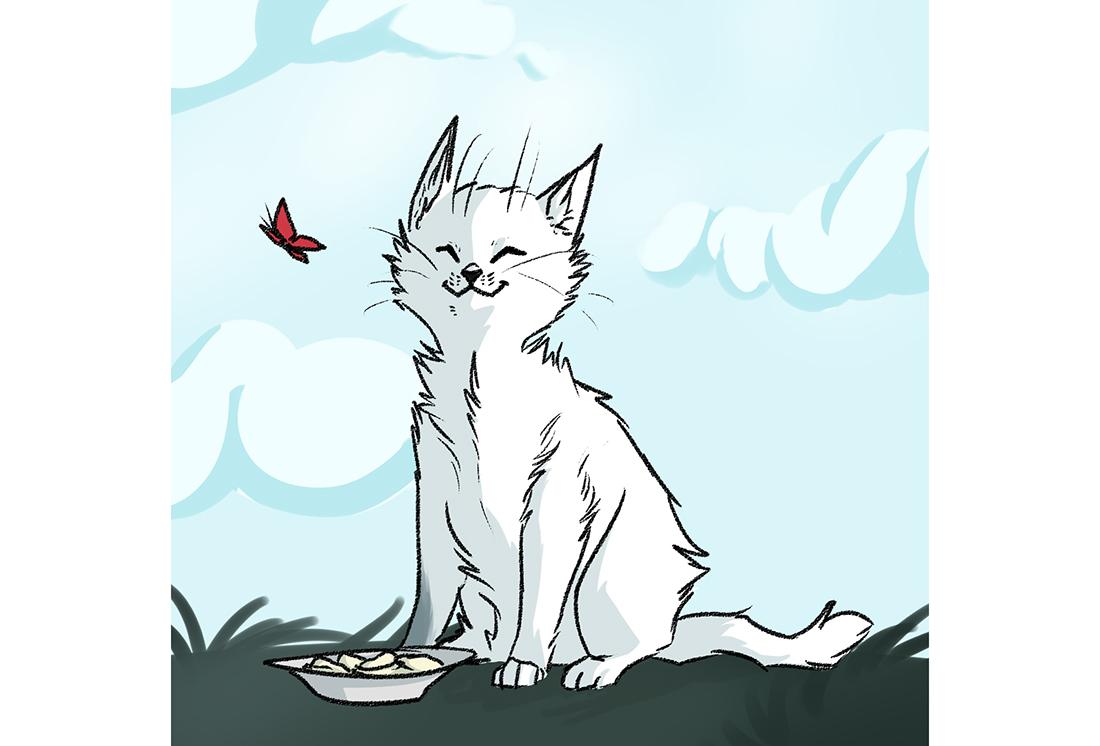 рисунок белый котенок и бабочка