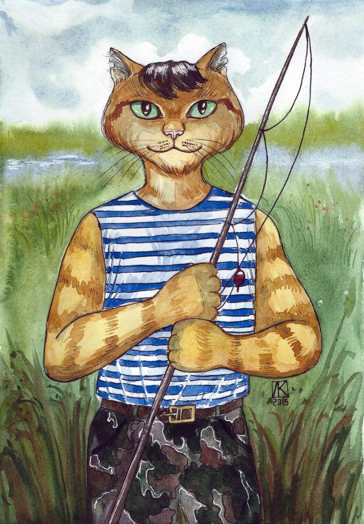 человеческий рисунок кота