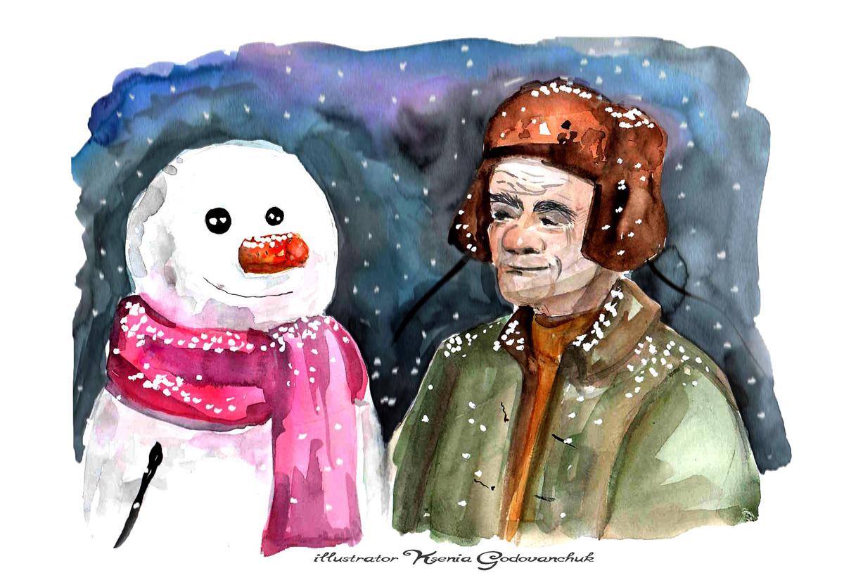 дед и снеговик