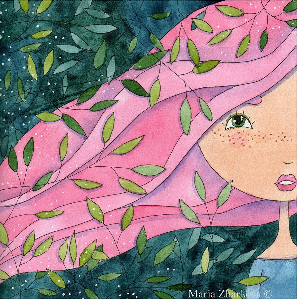 девочка с розовыми волосами