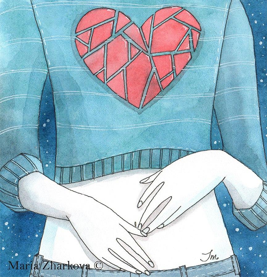свитер с сердцем