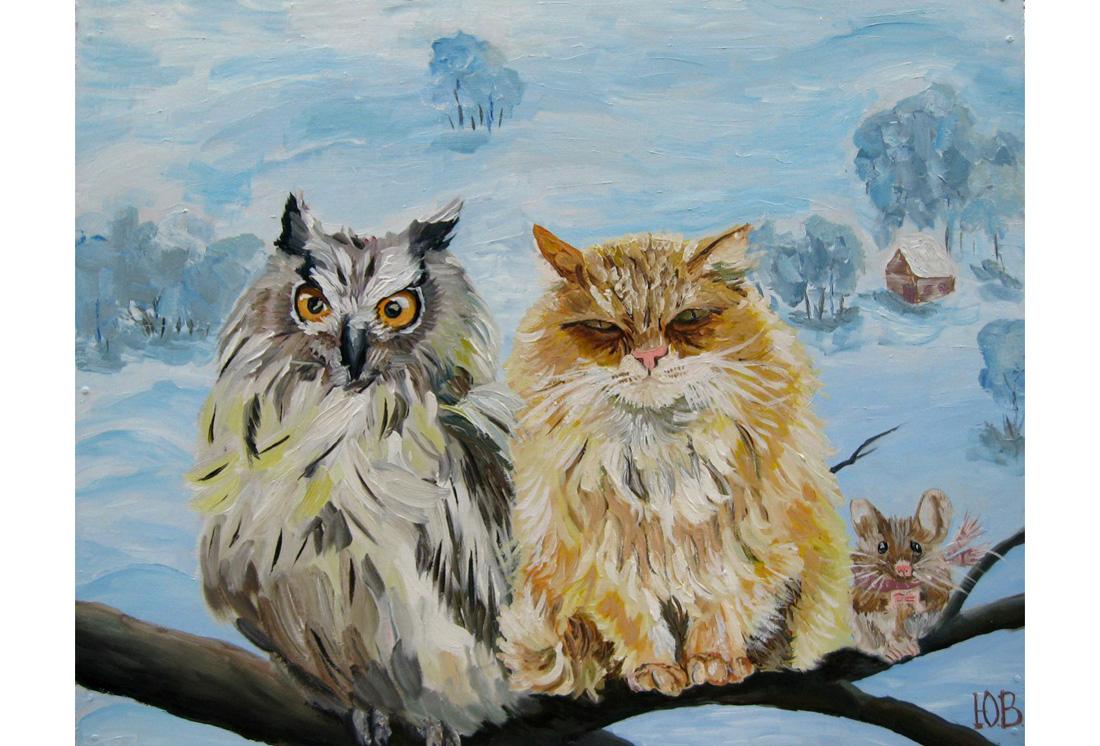 рисунок сова кот и мышь