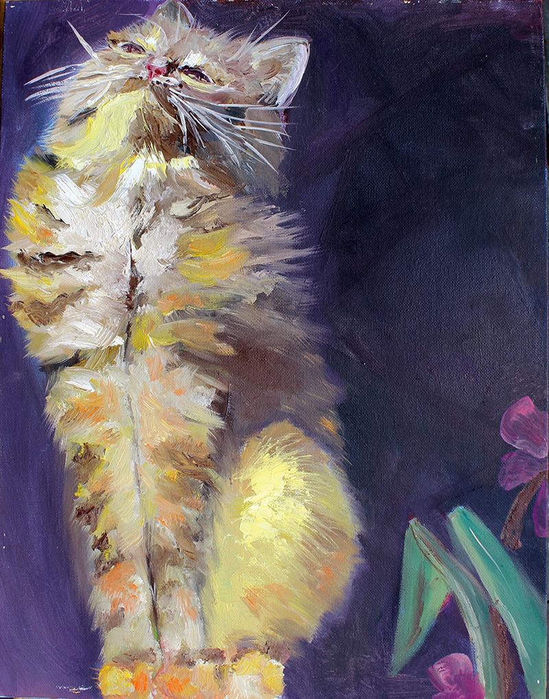 пушистый котёнок картина