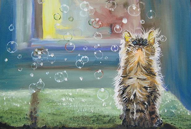 котёнок и мыльные пузыри